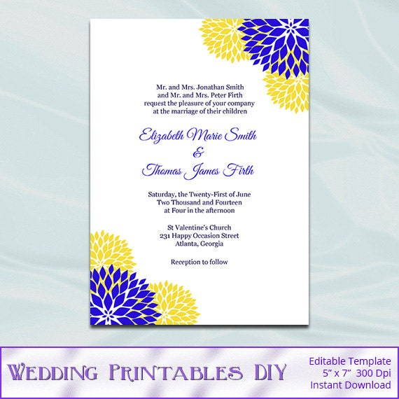Items similar to Royal Blue and Yellow Wedding Invitation Template, Printable Garden Floral ...