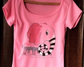Pink painted t-shirt . Hand paint tee with elephant design . Cotton painted t shirt with deep neck . Comic elephant design .