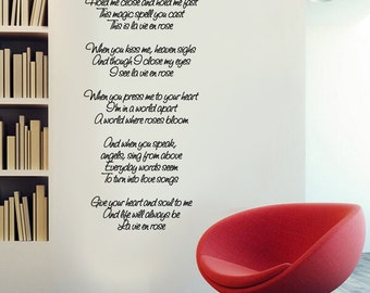 Wall Vinyl Decal La Vie en Rose song lyrics by Edith Piaf in English.