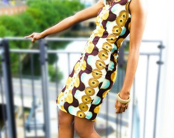 Blue Gold & Brown African Ankara Print Rhinestone Dress