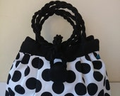 Black polka dots bag, black and white bag, Large purse , hand bag and shoulder bag, casual chic bag,  fashion bag, trendy bag