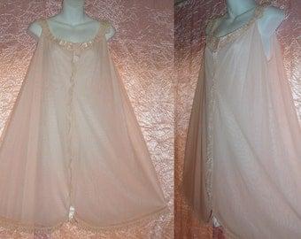 I Magnin Vintage Nightgown Chiffon Nylon Babydoll Gown