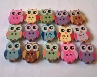 20 Mixed Wooden Owl Buttons, 22mmx17mm