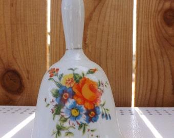 ON SALE Vintage Bell - Orande and Blue Flowers - L 435