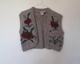 Fall Rose Print Vest // M