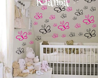 FREE SHIPPING 40 Kianna Butterflies Room Wall Decal - Nursery Wall Decal - Teen Name Wall Decals - Personalized Wall Decals