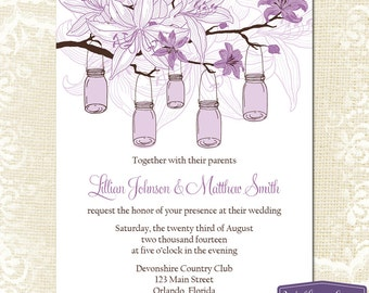 Mason Jar Wedding Invitation - Purple Mason Jar Wedding Invite - Purple Lilies Wedding Invitation Wedding - 6038 PRINTABLE