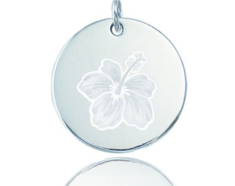 Hibiscus Sterling Silver Charm / Pendant