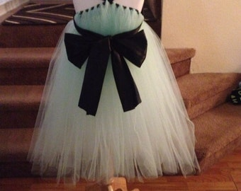 Mint flowergirl tulle dress