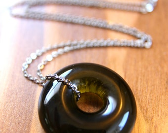 Recycled Wine Bottleneck Piece Necklace - Olive Green