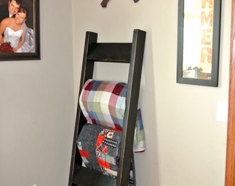 Black Wooden Blanket Ladder - Rustic Country Decor - Blanket Storage - Quilt Ladder
