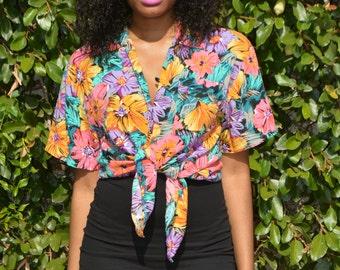 80s floral blouse