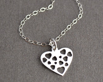 Heart Necklace, Sterling Silver Filigree Heart Necklace, Love Necklace, Everyday Jewelry, Gift For Her