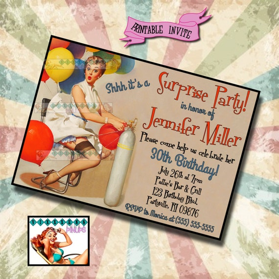 Items Similar To SURPRISE BIRTHDAY PARTY Pin Up Invite