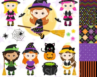 HALLOWEEN Digital Clipart, Halloween Witch Clipart, Witch Clipart, Witch Clip Art