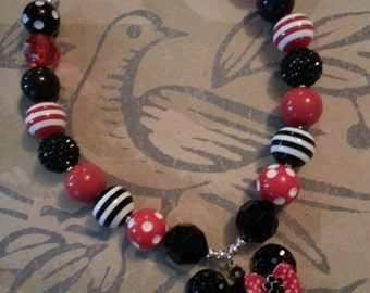 Minnie Mouse Chunky Necklace Red Black White