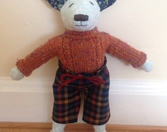 Dalston Dog. Handmade fabric stuffed dog with individual handmade clothes.