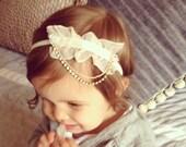 Newbown lace headband, newborn flower headband, boho lace headband, newborn photo prop, newborn headband, newborn photography, lace flower