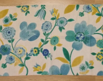 Pretty vintage mid century bright floral print design Flax Linen piece from France