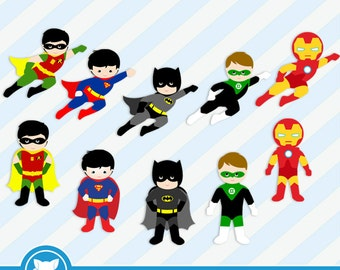 50% OFF SALE Super Hero Super Boys Digital Clipart / Personal and Commercial Use / Item Number: Superhero-5