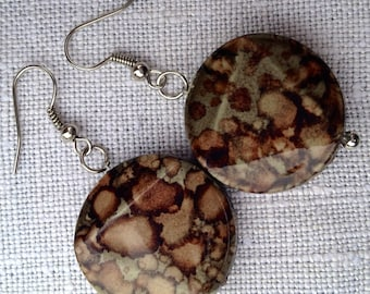 Handcrafted Leopard Pattern Earrings Silver Plated