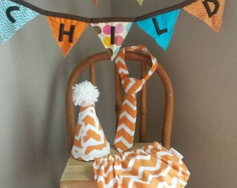 1st Birthday Cake Smash Outfit Orange Chevron Diaper Cover Tie Hat for Baby Boy