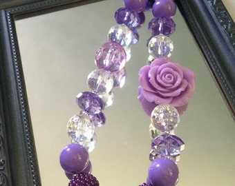 """Clear & Purple Rose Chunky Necklace. 19-20"""" long"""