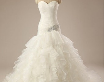 Sweetheart Pleated Ball Gown, White Organza wedding dress