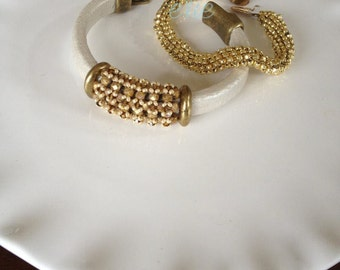 Cream and Gold Leather bracelet with Gold embellishments