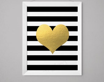 Heart on Black and White Stripes -  Faux Gold Foil Wall Art  - 5x7, 8x10, 11x14, 12x16, 13x19  - Print - Artwork (1031)