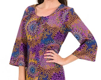 Beach Cover Up or Kaftan Dress in 100% Cotton – Reef Plum