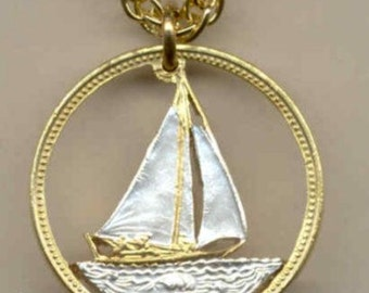 24K Gold Nautical Bahamas 25 Cent Sail Boat Cut Coin Necklace - Nautical Valentine's Day Gift