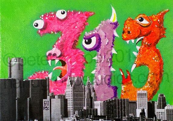 "Detroit 313 Muppet Birthday Monster Numbers 5x7 Print ""Numahnamahna"" Original Art Print by Pete Coe"