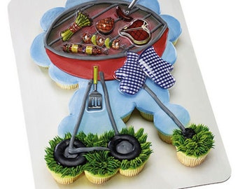 BBQ Grill Barbecue Creations Cupcake Decorating Kit Cake Topper Grilling Summer Father's Day