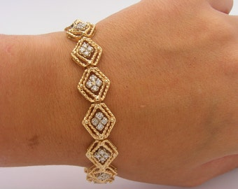 1.00 Carat Total Vintage Add-A-Link Diamond Bracelet. 14K Yellow Gold. SI2 - H