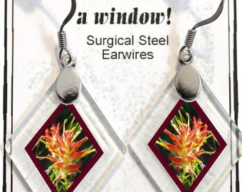 "Earrings ""Indian Paintbrush"" from rescued, repurposed window glass~Lightening landfills one tiny glass diamond at a time!"
