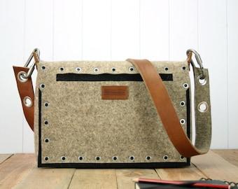 felt satchel with industrial pop rivet pocket and leather strap - Felt Messenger Bag - Satchel Bag - Mens Messenger Bag - Mens Messenger Bag