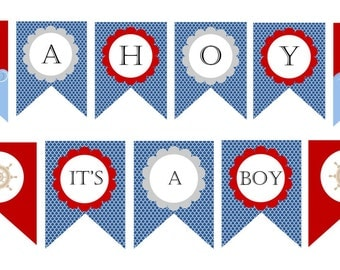 Nice Ahoy Itu0027s A Boy  Nautical Baby Shower Decorations   BANNER   PRINTABLE    Baby Boy