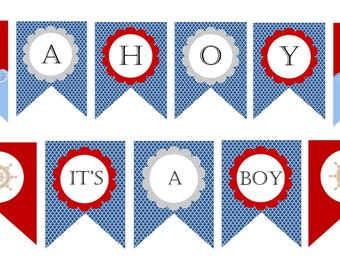 Ahoy Itu0027s A Boy  Nautical Baby Shower Decorations   BANNER   PRINTABLE    Baby Boy