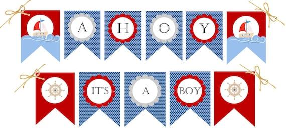 Ahoy Itu0027s A Boy  Nautical Baby Shower Decorations   BANNER   PRINTABLE    Baby Boy, Digital   Sailboat, Baby Shower Decor