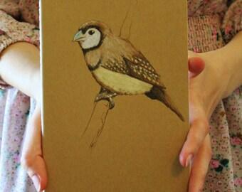 Finch Decorated Blank Moleskine Journal, wild animal bird blank journal