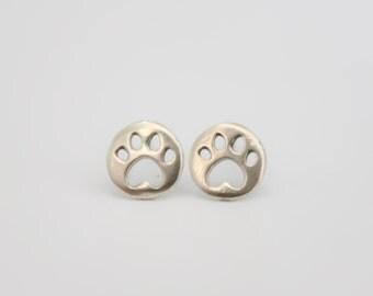 Silver Stud Earrings, dog paw studs, sterling silver Studs, tiny dog paw posts, silver dog paw