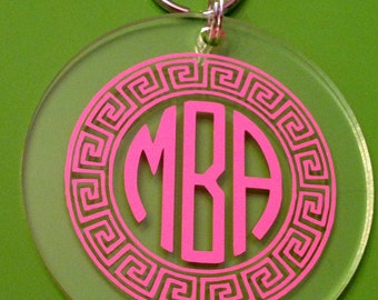 Monogrammed Greek Key Keychain - Southern, Sorority