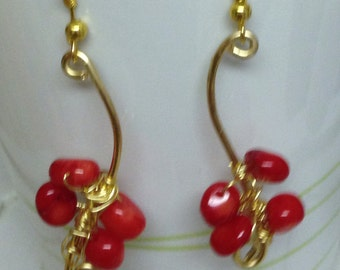 A beautiful coral wrapped earring