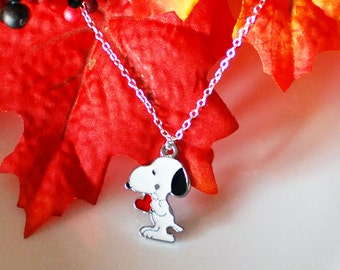 Snoopy Necklace 'Snoopy's Heart' - Disney Character - Snoopy Gift Chain - Cute Necklace - Jewelry for Children - With Gift Box