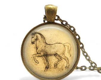 "Leonardo's Horse ""Gran Cavallo"" Detail Necklace, 1400's Design Necklace, Italian Renaissance Necklace, Drawing Necklace, Artistic Necklace"