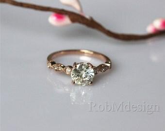 New Design VS 5mm Princess Cut Moissanite Ring Plain by RobMdesign