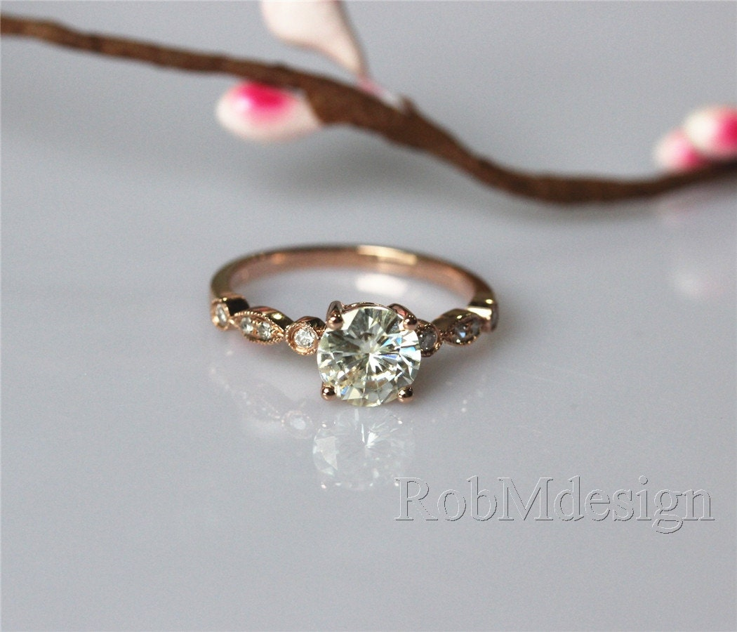 VS 6.5mm Moissanite Ring Art Deco Engagement Ring by ...