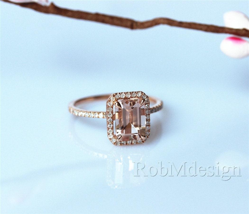 vs emerald cut 68mm morganite ring 26ct by robmdesign