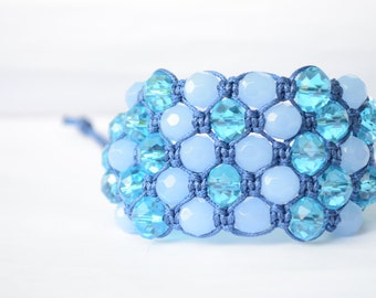 5 Row Blue Aquamarine Bead Shamballa Bracelet, Blue Glass bead Shamballa Bracelet, Blue Aquamarine Shamballa Bracelet, Sky Blue Shamballa